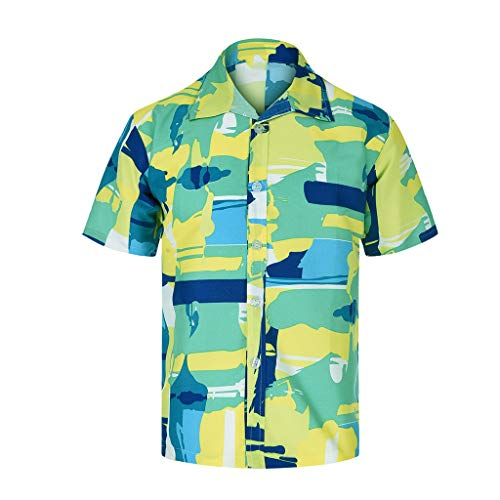 TANGSen_Mens Spring and Summer Casual Personal Printed Button Fashion Short-Sleeved Plus Size Loose Beach Tops Green