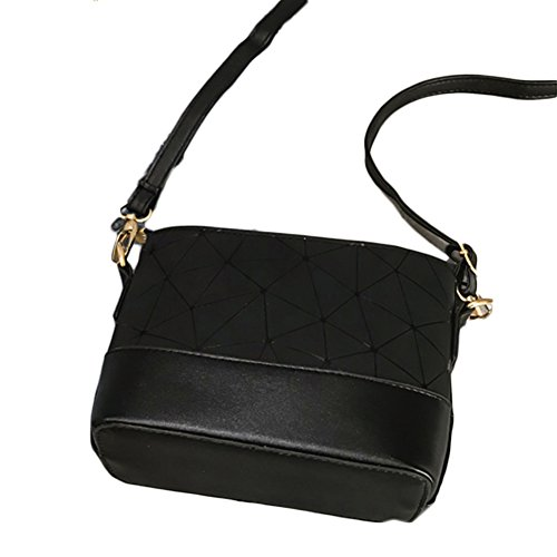 Pu Pattern Shoulder Silver Totes Bag Diamond Purse Shoulder Black Bag Bag Woman Leather Bag tXq6Bna
