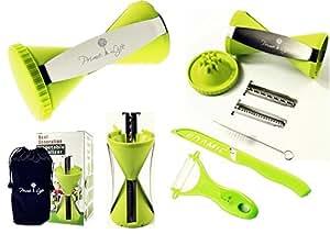 Big Pack - Prime Life Spiral Slicer - Vegetable Spiralizer - Vegetable Cutter - Zucchini Spaghetti Pasta Noodle Maker - Green