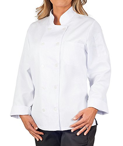 KNG Womens White Classic Long Sleeve Chef Coat, S by KNG