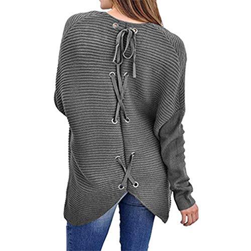 Chandails des Chemise tricotes Manches Longues Plein Devant Ouvert air Dames Bellelove Cardigan Hiver Automne Poches Gris Manches vtements Femmes Longs des de Tricoter avec Fw0Wx145q7