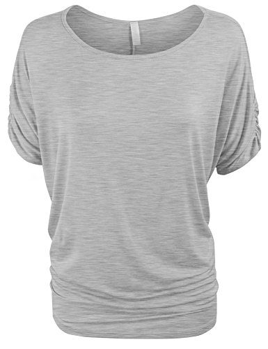 - KOGMO Womens Solid Basic Womens Boatneck Dolman Top With Sleeve Shirring-S-Heather_Gray