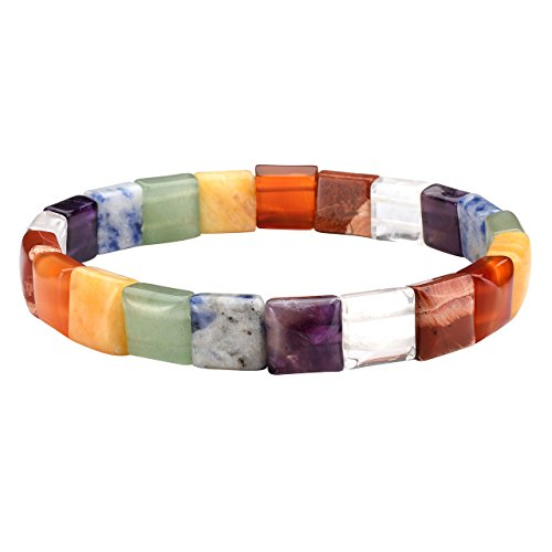 Jovivi 7 Chakra Tumbled Gemstone Facted 10mm Square Beads Stretch Bracelet 7.5
