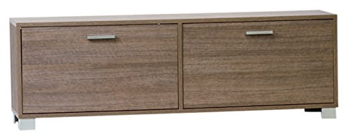 Sarmog A787-Gray Oak Shoe Rack Collection Shoe Rack with 2 Double Depth Folding Doors, Gray Oak - Nameeks Oak Vanity