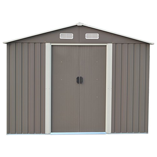 DOIT 8'x10' Outdoor Metal Steel Low Gable Storage Shed with Floor Frame Foundation Base Gray Tool Utility for Garden Backyard Lawn (Shed Best Base Plastic)