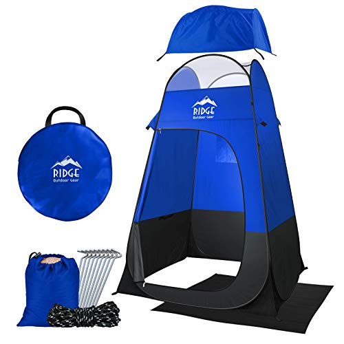 Ridge Outdoor Gear 6.5ft Pop Up Changing Shower Privacy Tent - Portable Utility Shelter Room with rainfly Ground Sheet for Camping Shower Toilet Bathroom Trade Shows Beach Spray tan popup