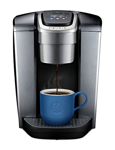 (Keurig K-Elite Single Serve K-Cup Pod Maker with with Strength and Temperature Control, Iced Coffee Capability, 12oz Brew Size, Brushed Silver)