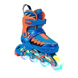 YANGXIAOYU Adult Beginners Children's Inline Skates, Professional Roller Shoes, Anti-Collision Shock All Flash Aurora Wheel, Backpack + Helmet + Protective Gear, Blue (Size : 27-30)