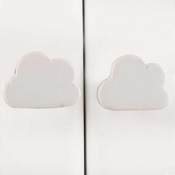 Indianshelf Handmade 2 Pieces Ceramic White Cloud Kid Decorative Cabinet Knobs for Laundry Room Door Wardrobe Pulls Online