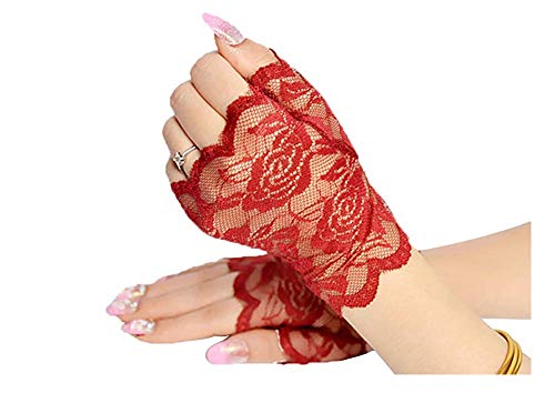 Orcle Women's Short Lace Gloves Fingerless for Driving Wedding Wrist Length Bridal Prom Gloves Red#4
