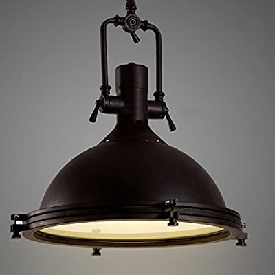"Industrial Nautical Style Single Pendant-LITFAD 18"" Dome Shape Pendant Light Mounted Fixture Lighting in Rusty"