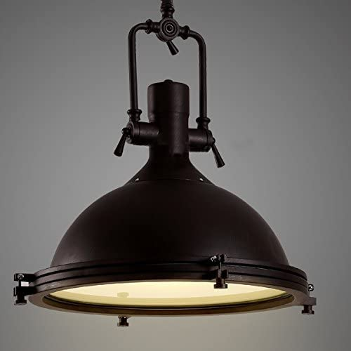 Industrial Nautical Pendant Light-LITFAD 16 Wide Single Pendant with Frosted Diffuser Mounted Fixture in Black