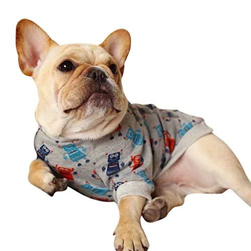 (Shirazawa Pet Puppy Dog Shirt Clothes Cartoon Doodle Round Neck T Shirts Costume Apparel,Round Suits for)