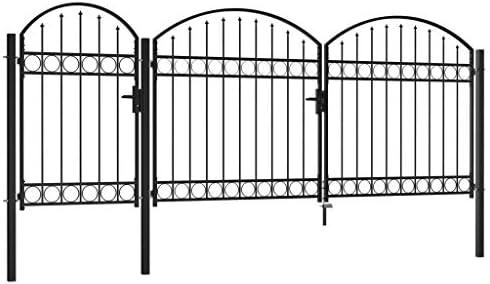 mewmewcat Puerta de Valla jardín con Arco Superior Acero Negro 2x4 m: Amazon.es: Hogar