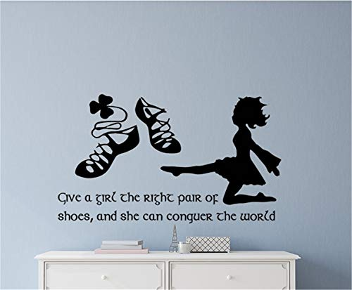 (Omaamc Quotes Vinyl Wall Art Decals Saying Words Removable Lettering Irish Dance Give A Girl The Right Pair of Shoes and She Can Conquer The World for Girls Room)