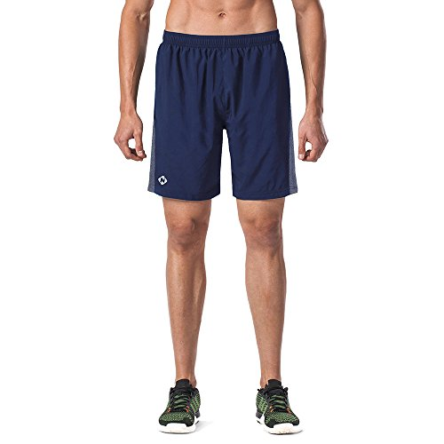 Naviskin Men's 7″ Quick Dry Running Shorts Workout Shorts Mesh Panels Zip Pocket Navy Size L