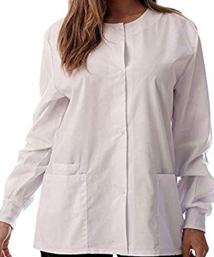 (Green Town New Womens Solid Medical Scrub Jacket Nurse Uniform Lab Coat (White, L) )