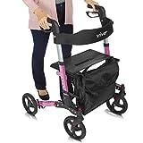 Vive Rollator Walker - Folding 4 Wheel Medical Rolling Walker with Seat & Bag - Mobility Aid for Adult, Senior, Elderly & Handicap - Aluminum Transport Chair (Pink)