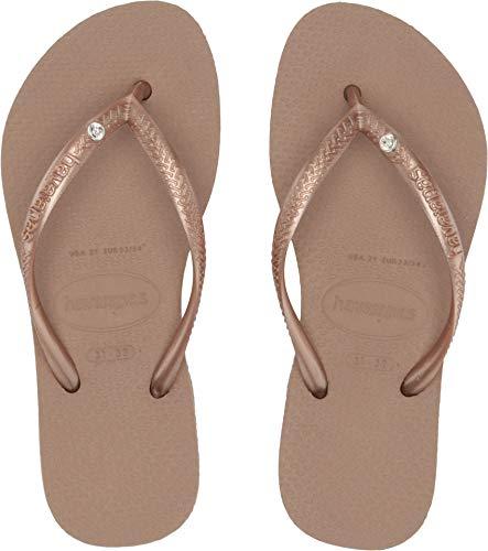 Havaianas Kids Slim Crystal SW Flip Flops, Rose Gold, -