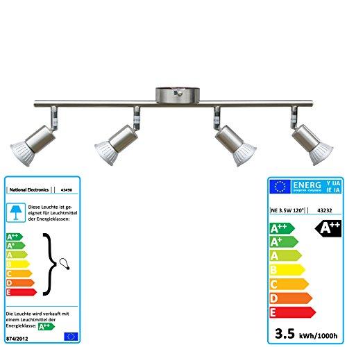 National Electronics® Deckenstrahler 4-Flammig | GU10 3.5W 320 Lumen SMD LED | Deckenlampe AC 230V 120° Deckenleuchte warmweiß