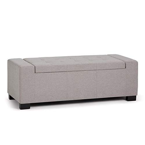 Simpli Home AXCOT-231-CLG Laredo 51 inch Wide Contemporary Storage Ottoman in Cloud Grey Linen Look Fabric