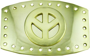 Hippie Peace Belt (GOLD PEACE SIGN Belt Buckle)