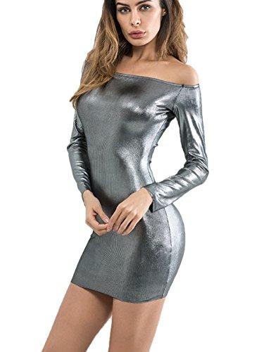 Haola Women's Long SleeveShiny Liquid Metallic Look Bodycon Dress Sexy Mini Dresses M Black (Dress Mini Liquid)