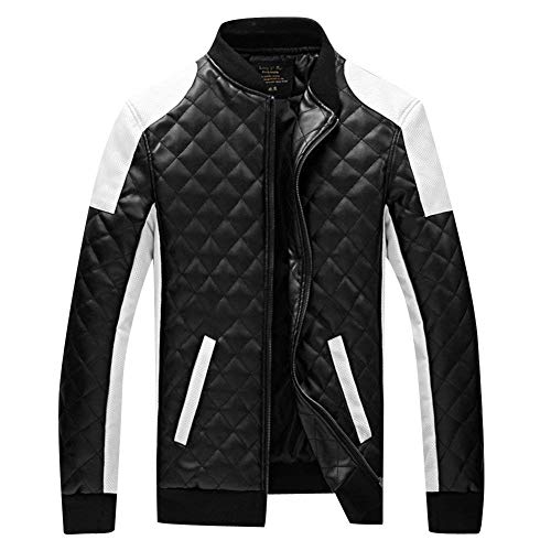 Motorcycle Leisure Leather Leather Stand Sleeve Slim Jacket Faux Modern Jacket Fit Men Leather Biker Schwarz Geteppt Huixin Pu Apparel Collar Coat Outwear Jackets Long 1xPqqId