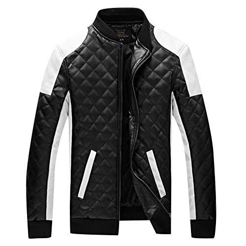 Moderna Lunga Motociclista Schwarz Tempo Giacca Fit Manica Per Libero Coat Il Slim In Cappotto Geteppt Moto Outwear Colletto Uomo Pelle Da Stand nzzTwOqX