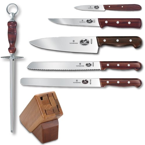 - Victorinox Swiss Army Cutlery Rosewood Knife Block Set, 7-Piece