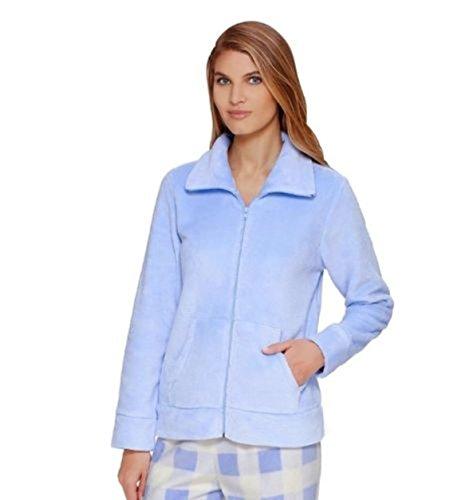 Women's Croft & Barrow Pajamas: Wispy Clouds Plush Full-Zip Sleep Cardigan Blue (Barrow Plush)