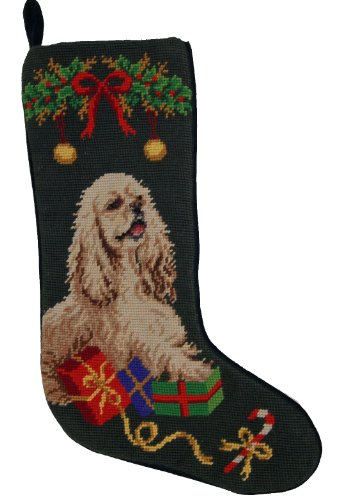 Cocker Spaniel Dog Needlepoint Christmas Stocking (Spaniel Needlepoint)
