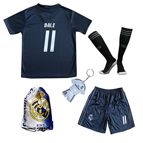 9ef2ae7ac GamesDur 2017 2018 Real Madrid Bale  11 Away Black Football Soccer Kids  Jersey   Short   Sock   Soccer Bag Youth Sizes (Black
