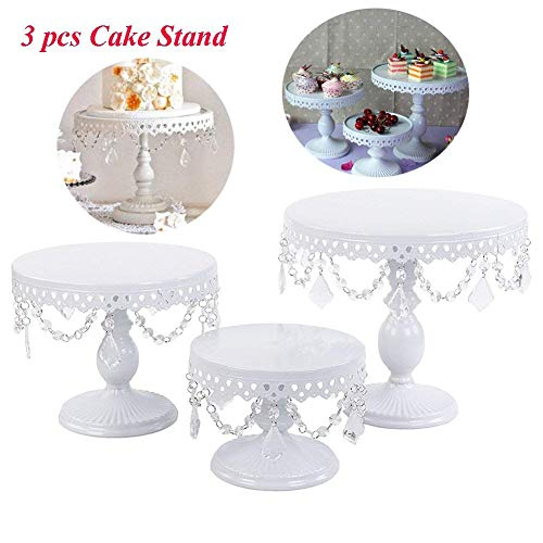 Cake Holder Cupcake Stand Cake Dessert Holder with Pendants and Beads,Wedding Birthday Dessert Cupcake Pedestal Display,White (3) ()