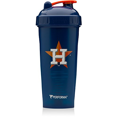 Performa Perfect Shaker - MLB Collection, Best Leak Free Bottle with Actionrod Mixing Technology for Your Sports & Fitness Needs! Dishwasher and Shatter Proof (Astros)