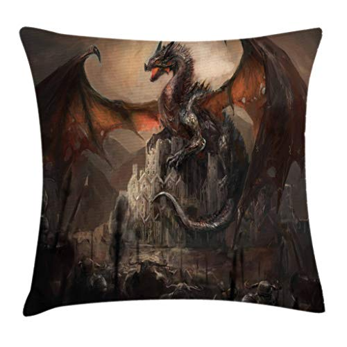 Ambesonne Dragon Throw Pillow Cushion Cover by, Medieval Fight with Gothic Monster Horror War Middle Age Style Vintage Print, Decorative Square Accent Pillow Case, 20 X 20 Inches, Umber Tan Cinnamon