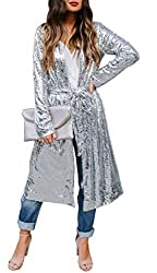 Silver Long Sleeve Sequins Open Front Cardigan Coat