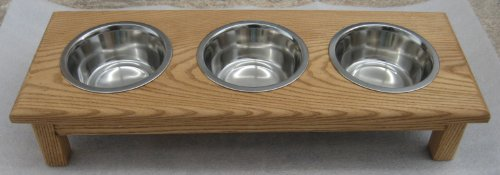 Classic Pet Beds 3-Bowl Traditional Style Ash Pet Diner, Small, Medium Walnut