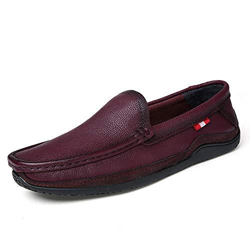 casual Rosso da Dimensione traspirante piatte da per Colore 41 scarpe uomo morbida Nero Vera EU pelle Fuxitoggo barca guida suola BRqYwY