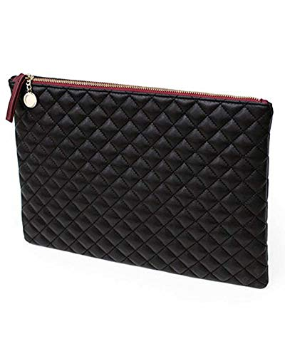 (ZJFZML Envelope Clutch Purses for Women Lightweight Simple Design Prom Party Ladies Flap Bag Diamond Pattern Large Quilted Leather Color Block Evening Bags with Pocket Black)