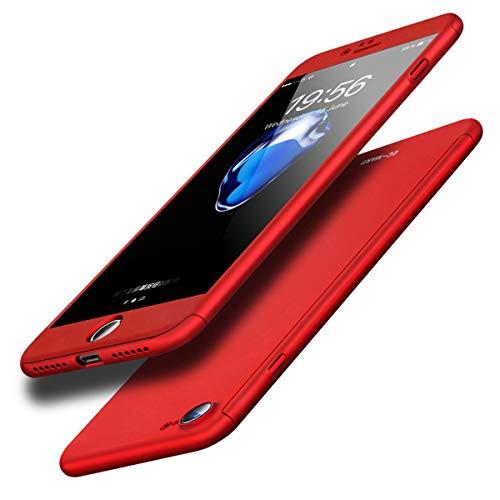 作曲家抽出債務者EC-MART iPhone6s Plus ケース iPhone6 Plus ケース 全面保護 強化ガラスフィルム 360度フルカバー 衝撃防止 おしゃれ 高級感 薄型 携帯カバー 耐衝撃 (レッド)