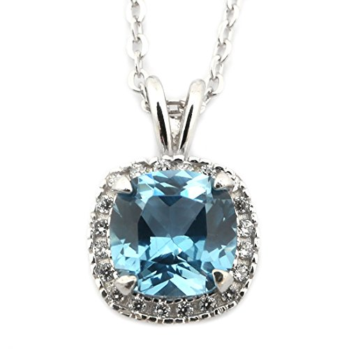 Sterling Silver Rhodium Plated Simulated Birthstone and CZ 9 Millimeter Cushion Cut Pendant Necklace