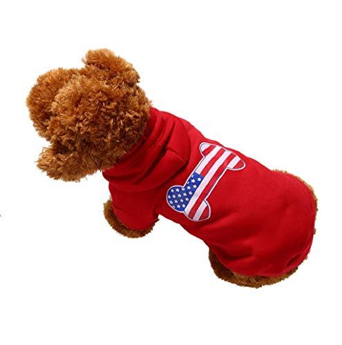 Banner Sweatshirt - Pet Sweater,JHKUNO Pet Hooded Sweatshirts Banner Printed Dog Bone Pattern Lace-up Sweater Cold Weather Spring Sweatshirt