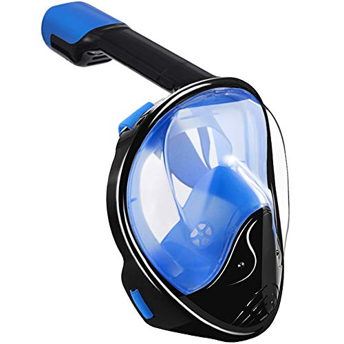 Full Face Snorkel Mask,180 Panoramic View Anti Fog Anti Leak Snorkeling Mask,Comfort and Superior Optics in A Snorkel Mask with Detachable Camera Mount for Adult and Kids