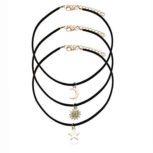 3pcs/Set Black Velvet Rope collare del Choker delle donne collane del pendente Set gotico Stretch Tattoo Tasselwith Stella Luna Sole per le donne Ragazze Minzhi