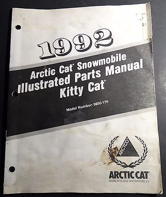 1992 ARCTIC CAT KITTY CAT SNOWMOBILE PARTS MANUAL P/N 2254-751 (129)