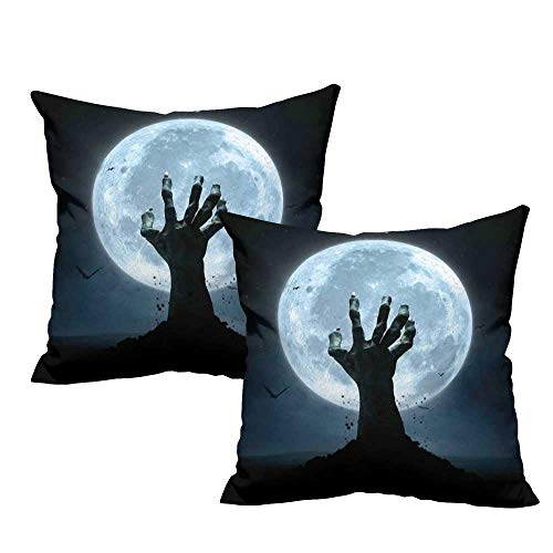 Iridescent cloud Personalized Pillowcase Halloween Realistic Zombie Earth Soil Full Moon Bat Horror Story October Twilight Themed with Hidden Zipper W13 x L13 Blue Black]()