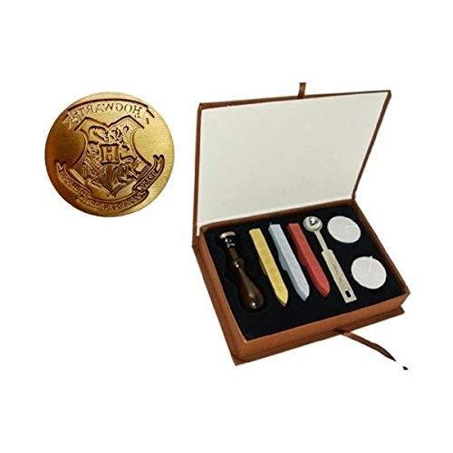 New Vintage Harry Potter colegio Hogwarts Badg e sello de cera varitas de sello juego de cucharas de fusión velas