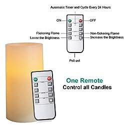 AMAGIC Set of 6 Battery Operated Candles Ivory (H