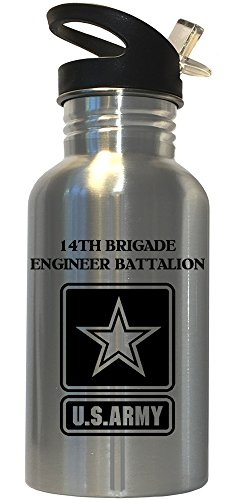 14th Brigade Engineer Battalion - US Army Stainless Steel Water Bottle Straw Top, 1027